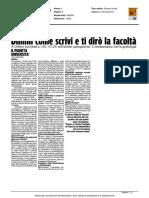 Dimmi come scrivi e ti dirò la facoltà - Il Corriere Adriatico del 6 febbraio 2016