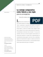 La Ventaja Comparativa Como Falacia y Una Regla Para La Convergencia