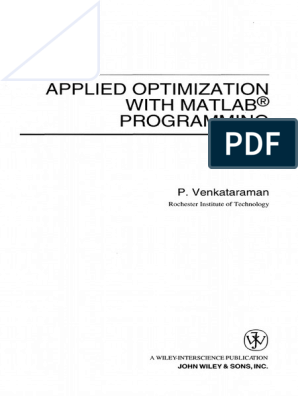 applied optimization with matlab programming 2nd edition free download
