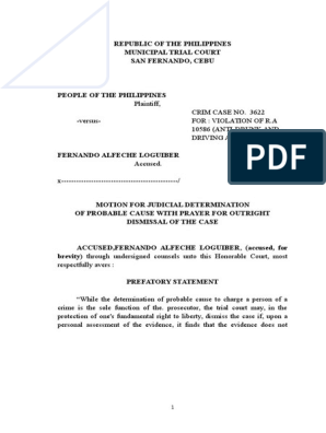 Motion for Judicial Determination of Probable Cause | Arrest Warrant