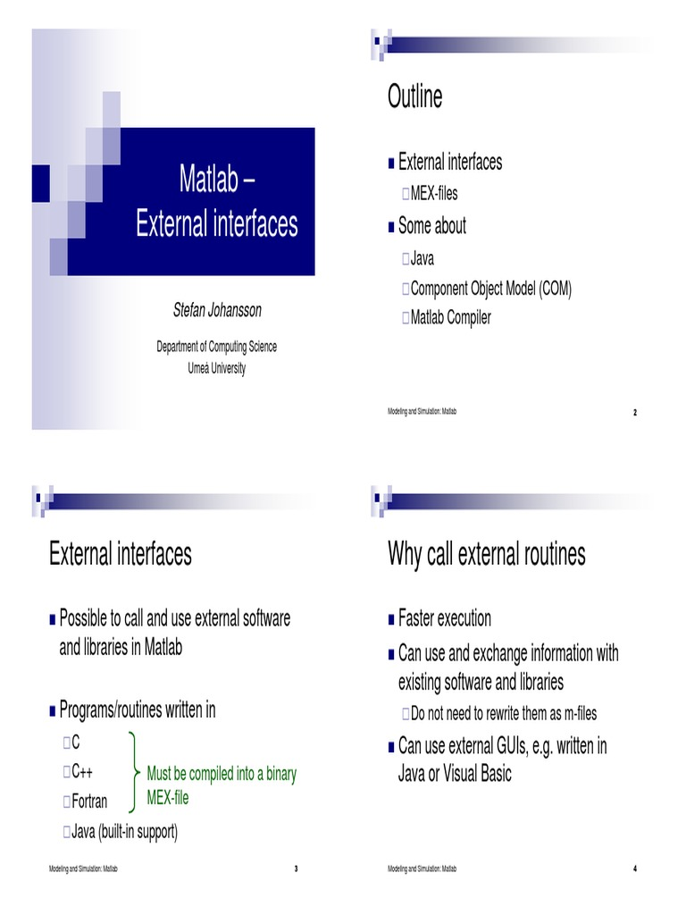 Matlab Mex Handouts | Matlab | Component Object Model