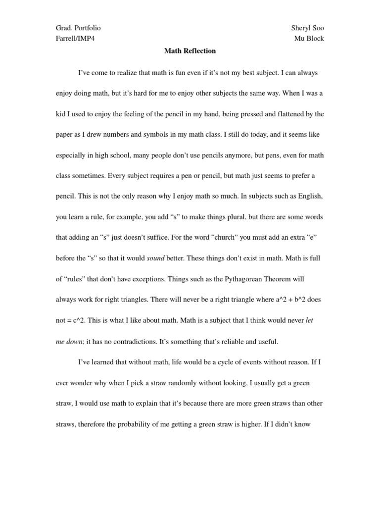 reflective essay sample high school