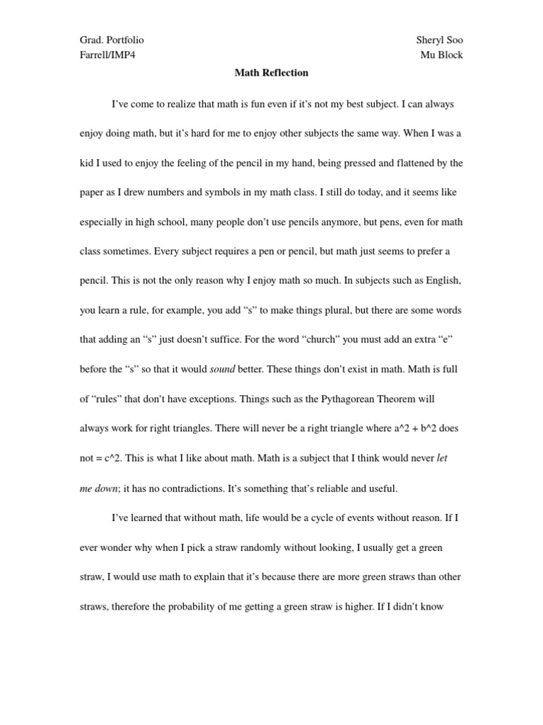 portfolio reflection essay example