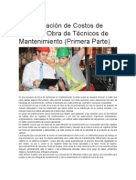 Determinación de Costos de Mano de Obra de Técnicos de Mantenimiento