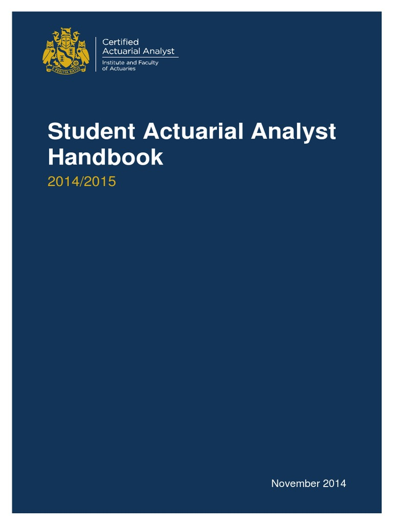 Caa Student Actuarial Analyst Handbooknov14 Identity Document