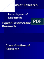 Types, Classifications and Theries of Reserach
