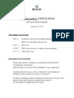 Costa Rica Koinonia Application Packet