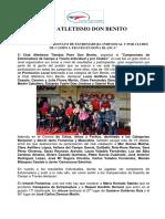 Nota de Prensa Atletismo Cross Doña Blanca