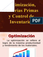 Optimización, Materias Primas y Control de Inventarios