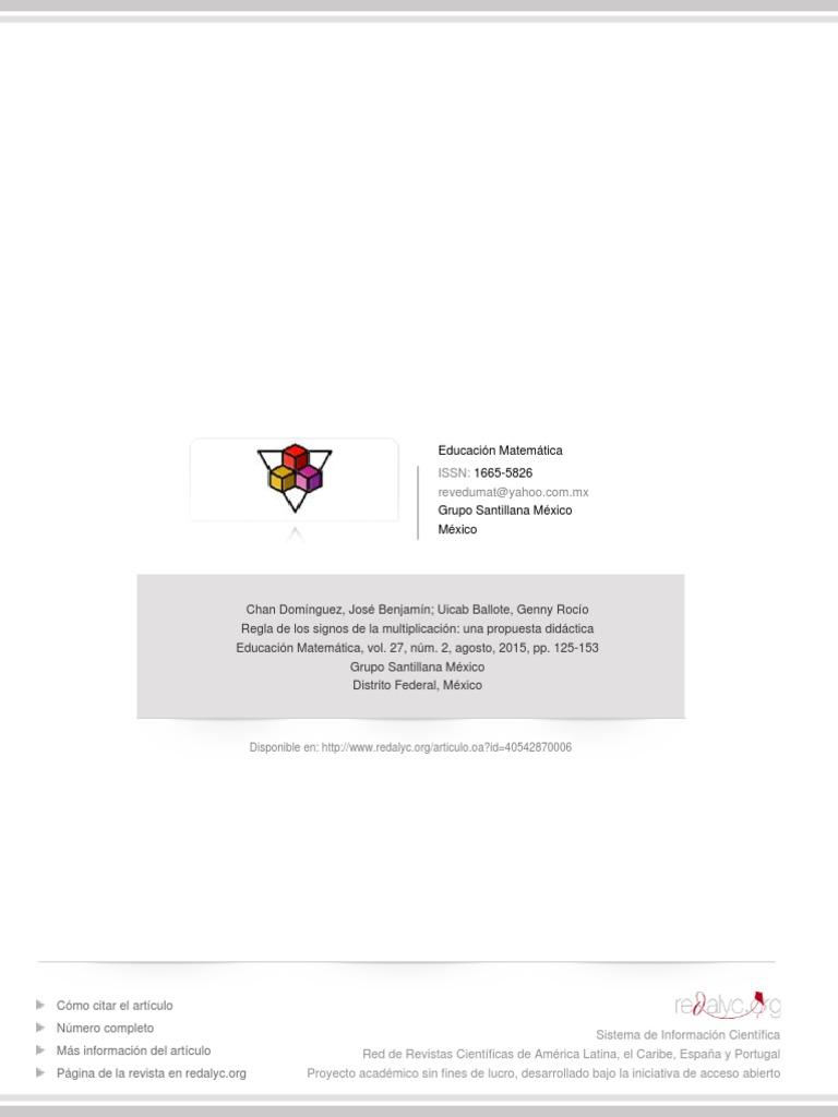 Regla de Los Signos de La Multiplicación- Una Propuesta Didáctica