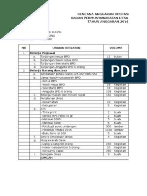 Rencana Anggaran Operasional Bpd Mutih Kulon 2016
