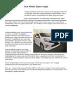 Teknik Membersihkan Mesin Toyota Agya