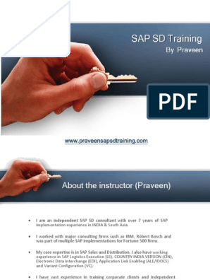 SAP SD Training by Praveen | Sap Se | Business Process