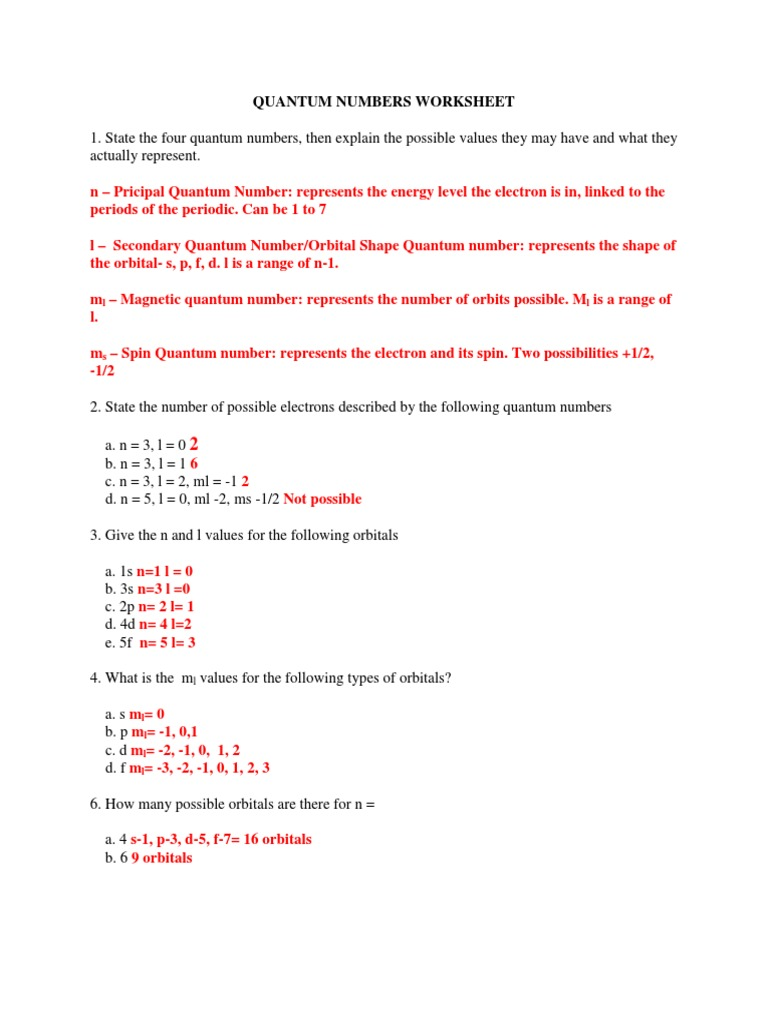 Worksheet quantum numbers electron configuration and orbital quantum numbers worksheet atomic orbital electron configuration answers electronic structure ccuart Image collections