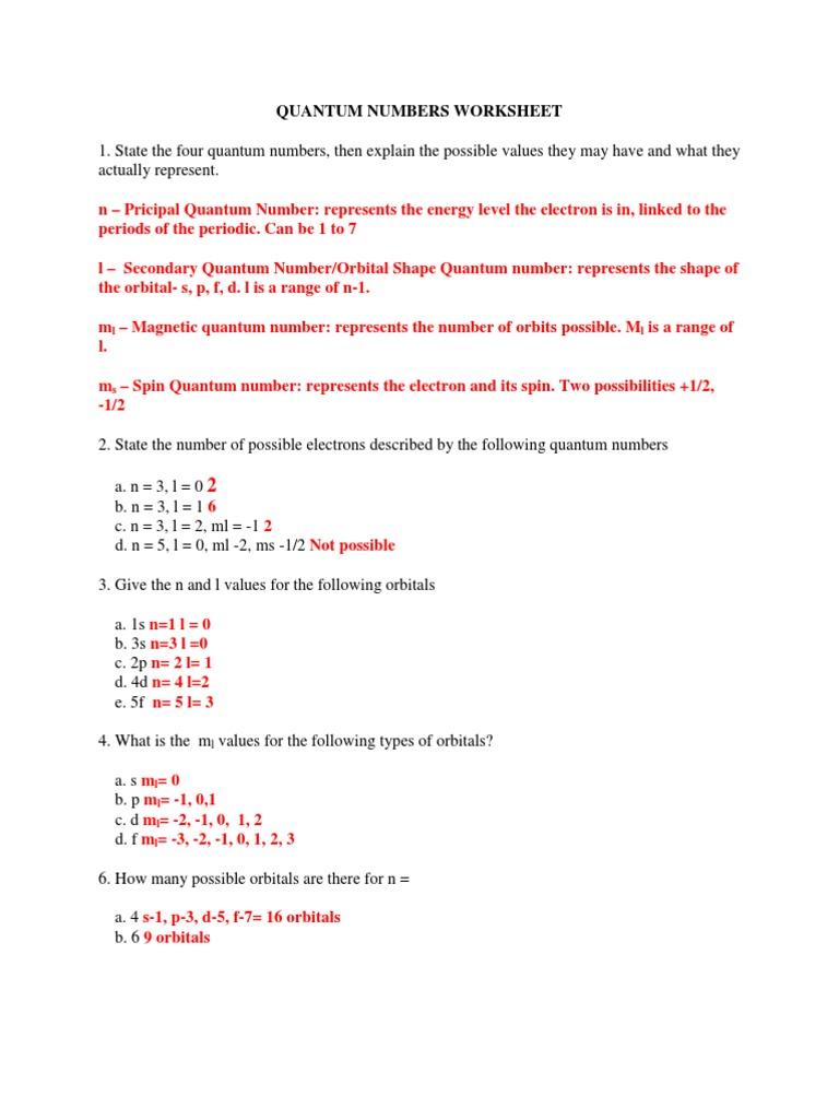 Quantum Numbers Worksheet   Atomic Orbital   Electron Configuration