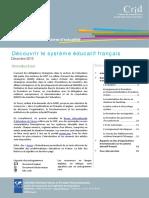Focus Decouvrir Systeme Educatif Francais