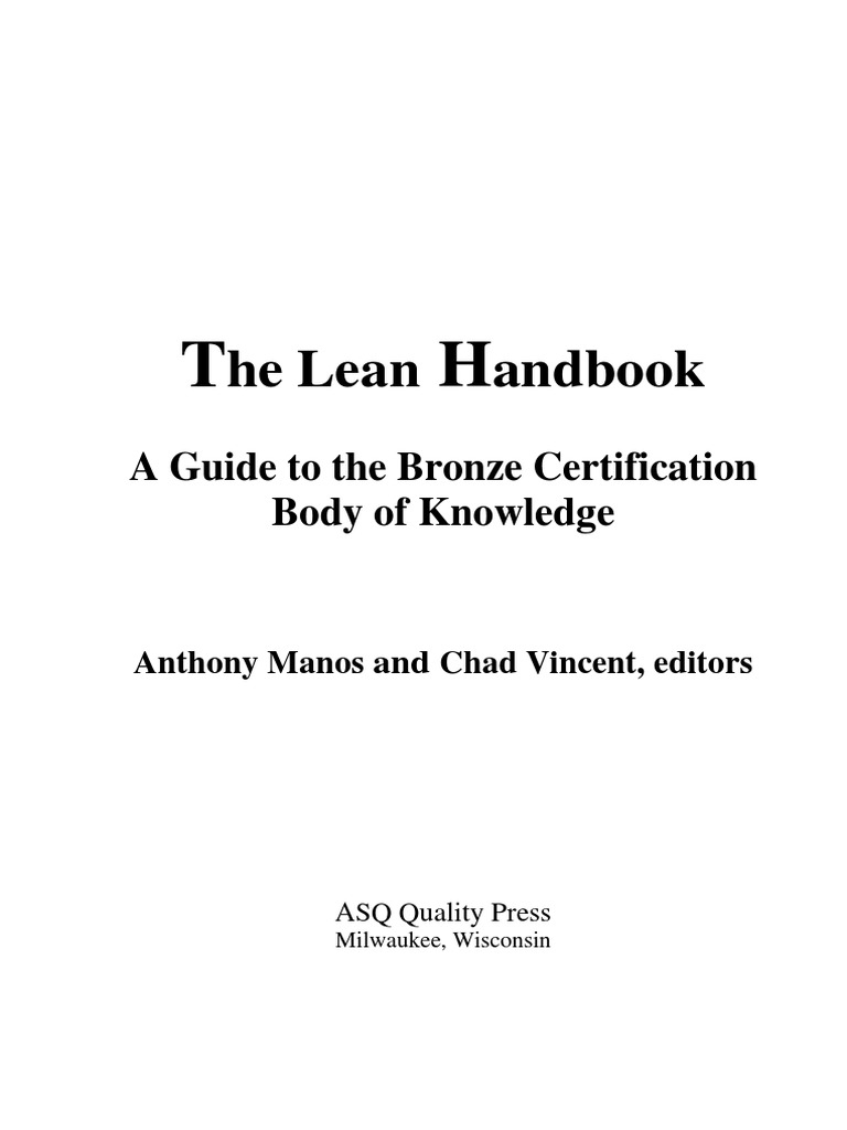 the lean handbook a guide to the bronze certification body of