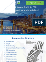 The Role of Internal Audit in CSR Reporting Practices and the Ethical Considerations
