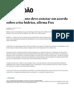 22.06.2015 - Brasil - Desmatamento Deve Constar Em Acordo Sobre Crise Hídrica, Afirma Fux - Brasil - Estadão