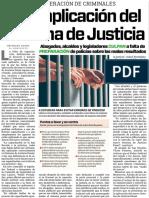 10-02-16 Falla aplicación del Sistema de Justicia