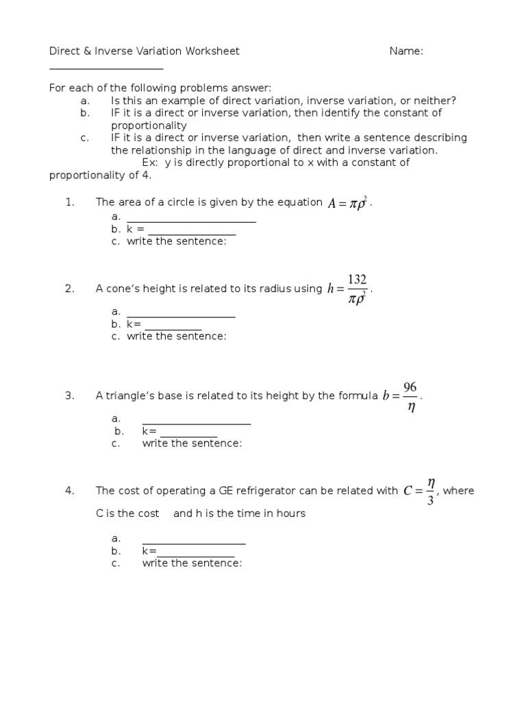 Direct And Inverse Worksheet Mathematical Objects Mathematics