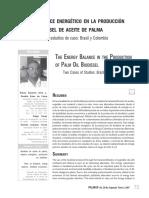 E ENERGÉTICO EN LA PRODUCCIÓN DE BIODIÉSEL DE ACEITE DE PALMA EL BALANCE ENERGÉTICO EN LA PRODUCCIÓN DE BIODIÉSEL DE ACEITE DE PALMA