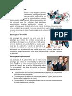 Psicología Experimental, Del Desarrollo, Personalidad, Clinica, Educativa, Social, Ambiental, Forense