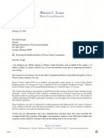 Letter from Warren Evans to the MDEQ on pollution concerns