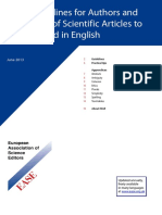 EASE Guidelines for Authors and Translators of Scientific Ar ticles to be Published in English