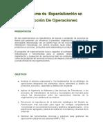 Informacion de I Programa de Especialización en Direcion de Operaciones
