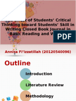 Annisa F_ the Effect of Students' Critical Thinking Toward Students' Skill in Wrting Closed Book Journal in Basic Reading and Writing