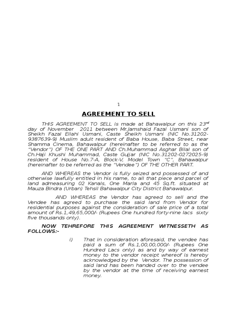 Sample Agreement To Sell Justice Crime Justice