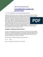 Modulus of Subgrade Reaction Corelation With Bearing Capacity