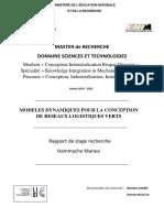 MODELES DYNAMIQUES POUR LA CONCEPTION  DE RESEAUX LOGISTIQUES VERTS