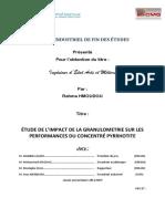 ÉTUDE DE L'IMPACT DE LA GRANULOMETRIE SUR LES  PERFORMANCES DU CONCENTRÉ PYRRHOTITE