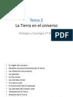 Tema 2 La Tierra en El Universo Biologia