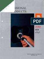 JBL - Listino Prezzi Professional Audio (Anche Urei, BGW, Ortofon, MicroAudio e Seck) (1991-01)