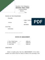 Notice of Arraignment_sample