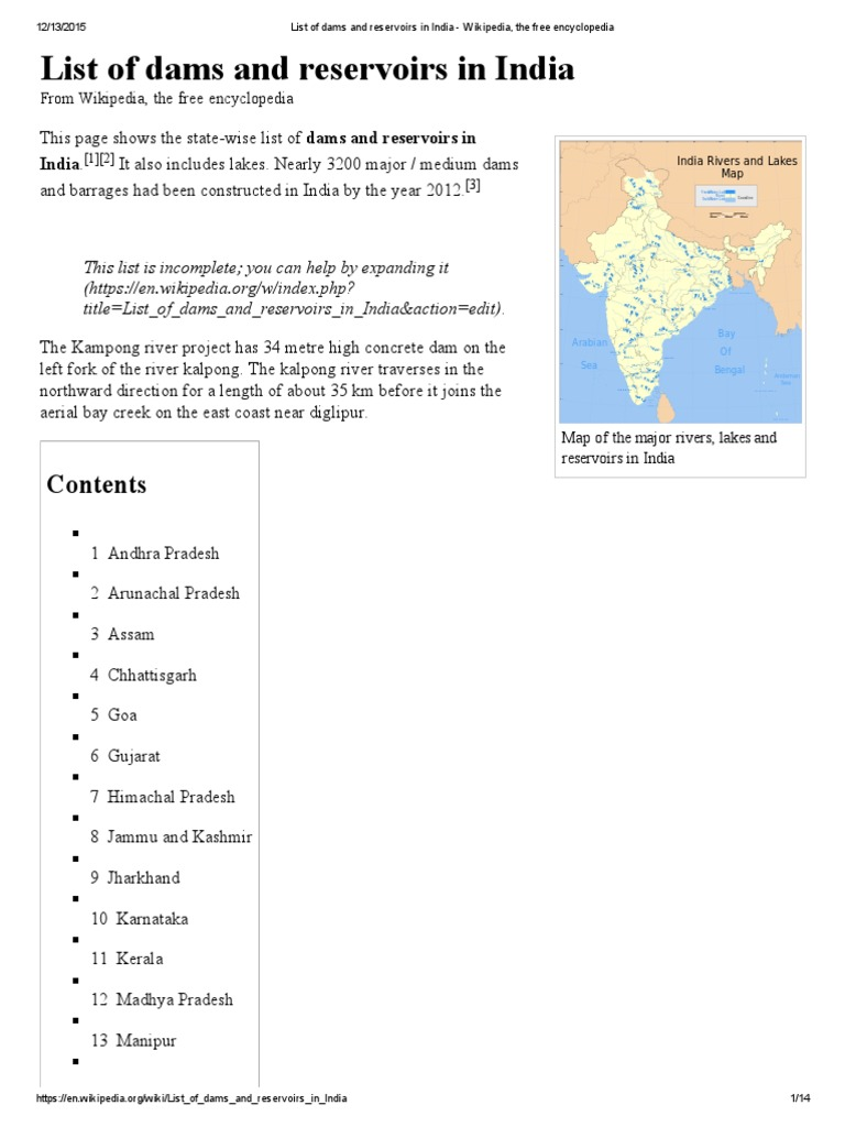 List of Dams and Reservoirs in India - Wikipedia, The Free
