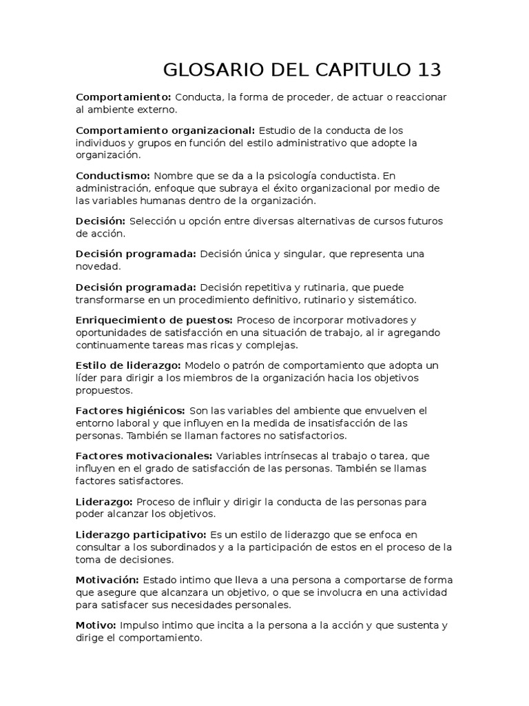 Glosario Capitulo 13