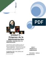 Guia Unidad II - ORÍGENES DE LA ADMINISTRACIÓN