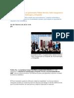 03-02-2016 Puebla Noticias - El Presidente EPN y El Gobernador Rafael Moreno Valle Inauguraron El Hospital de Traumatología y Ortopedia