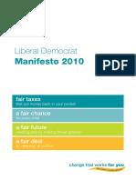 Liberal Democrat general election 2010 manifesto