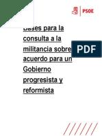 Bases para la consulta a la militancia sobre el acuerdo para un Gobierno progresista y reformista