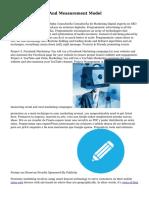 Digital Marketing And Measurement Model