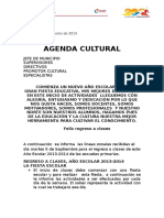 Agenda Cultural septiembre 2013 Inicio Año Escolar