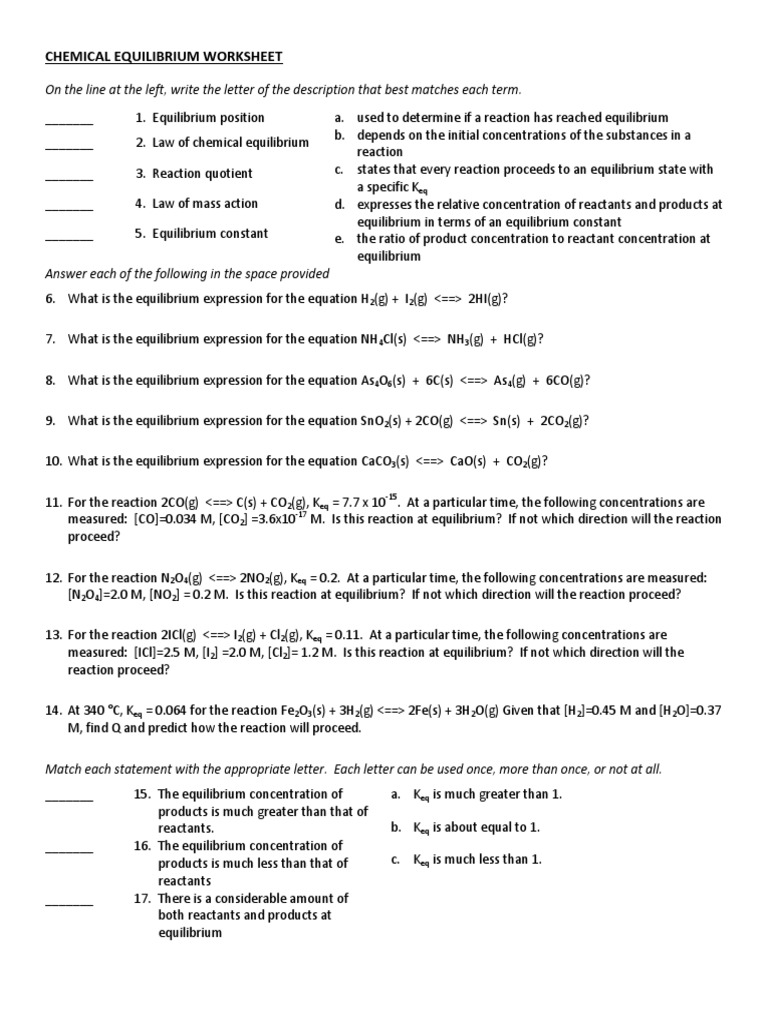 chemical equilibrium worksheet answers geersc. Black Bedroom Furniture Sets. Home Design Ideas
