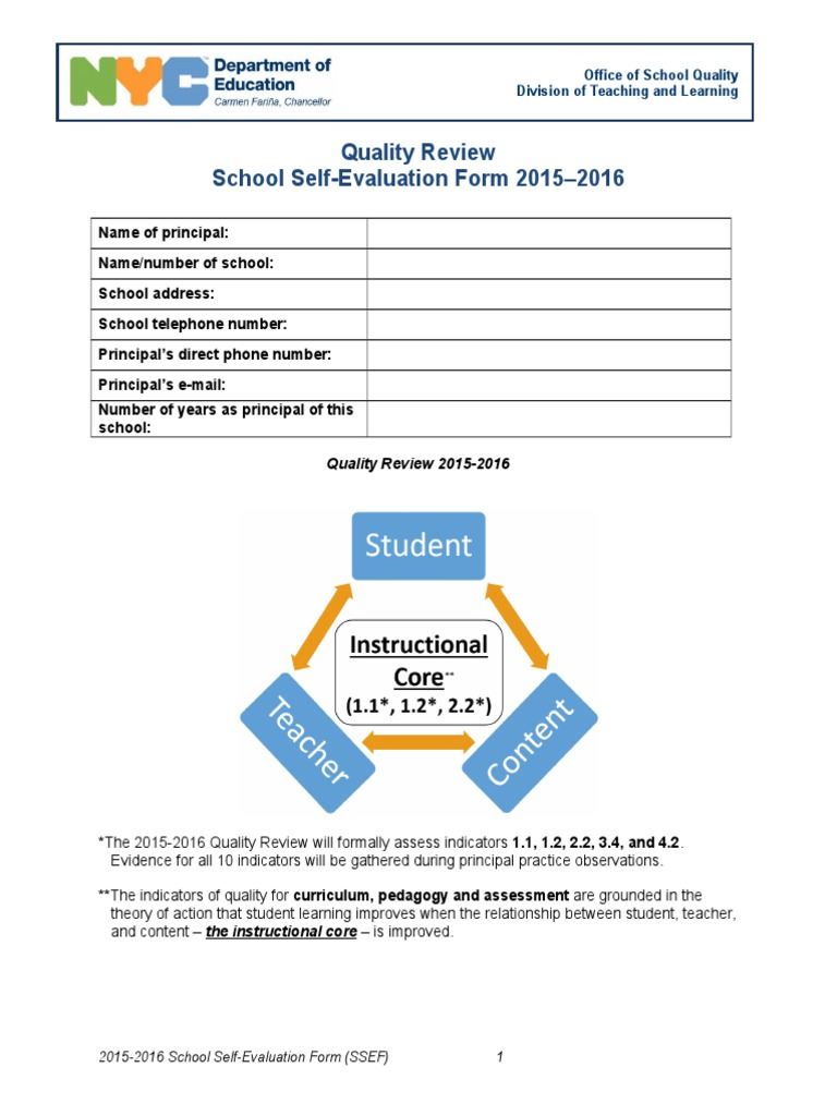 Exceptionnel School Self Evaluation Form 1516 | Common Core State Standards Initiative |  Educational Assessment