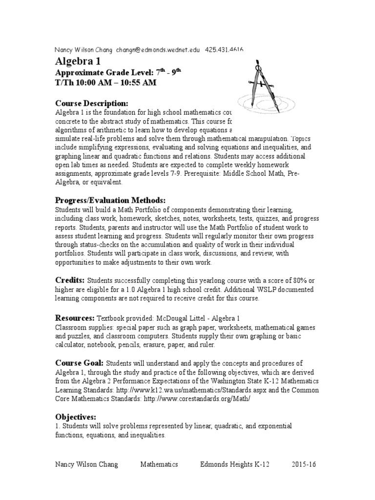 Syllabus Alg1 2015 16 1 Quadratic Equation Equations