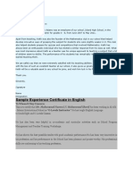 Experience Letter Samples
